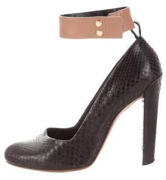 Celine Snakeskin Round-Toe Pumps