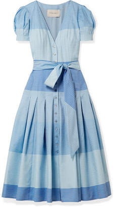 Carolina Herrera Pleated Striped Cotton Midi Dress - Blue