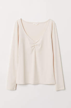 H&M Ribbed Jersey Top - Beige