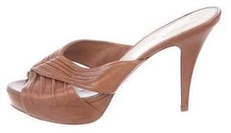 Prada Leather Ruched Slide Sandals