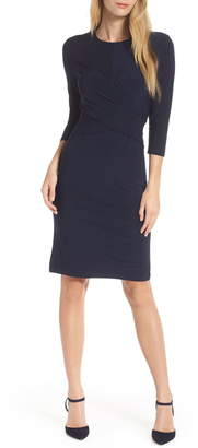 Eliza J Ruched Jersey Sheath Dress
