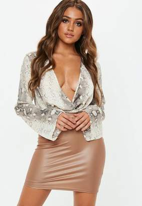 Missguided Camel Faux Leather Mini Skirt