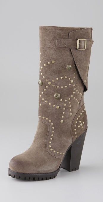 Ash Suede Rolls Bis Brass Stud Boots