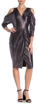 Rachel Roy Metallic Cold Shoulder Wrap Dress