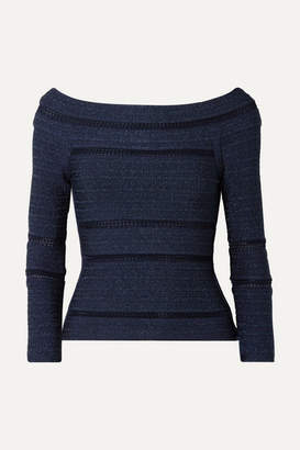 Herve Leger Off-the-shoulder Crochet-trimmed Metallic Bandage Top - Navy