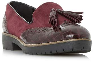 Dune Maroon 'Giorgia' Cleated Sole Tassel Loafers