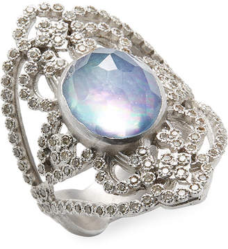 Armenta Silver Diamond And Gemstone Open Oval Ring