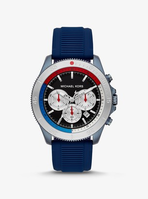 Michael Kors Oversized Cortlandt Blue-Tone and Silicone Watch