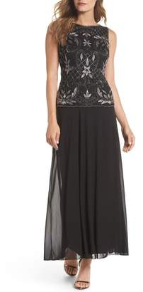Pisarro Nights Embellished Mock Two-Piece Gown