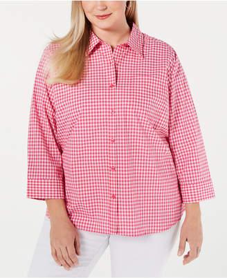 b8961164088dc Karen Scott Plus Size Cotton Gingham Button-Up Shirt