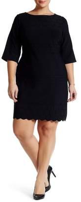 Julia Jordan 3/4 Length Sleeve Textured Sheath Dress (Plus Size) $158 thestylecure.com