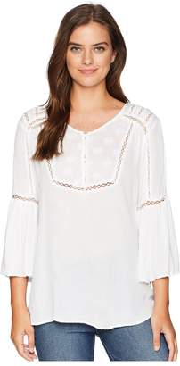 Scully Amber Cotton Crocheted Peasant Style Blouse Women's Clothing