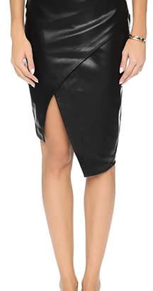 Blaque Label Sculptural Faux-Leather Skirt