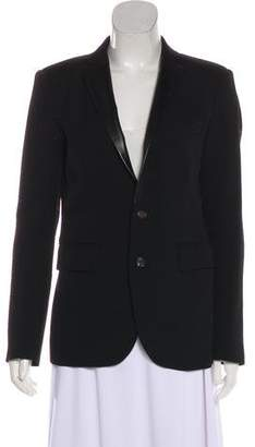 R 13 Leather-Trimmed Fitted Blazer