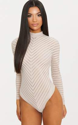 PrettyLittleThing Nude Chevron Mesh Long Sleeve Thong Bodysuit