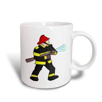 3dRose Fireman In Gear With Firehose, Ceramic Mug, 11-ounce