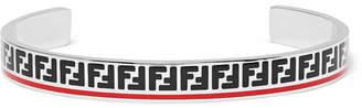Fendi Enamelled Silver-Tone Cuff - Men - Silver