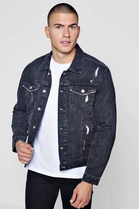 boohoo Black Distressed Denim Jacket