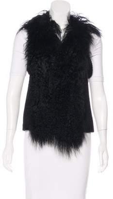 Alberto Makali Sleeveless Fur-Trimmed Vest