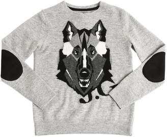 John Galliano Wolf Intarsia Wool Knit Sweater