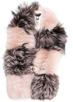 Fendi fox fur checkered scarf