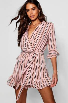 boohoo Tall Stripe Wrap Playsuit