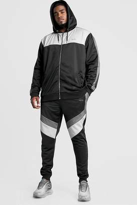 boohoo Big & Tall Tricot Tracksuit With MAN Embroidery