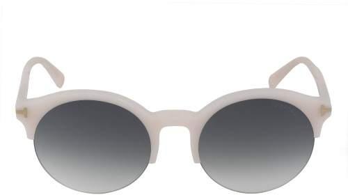 Tom Ford Unisex Semi-Rimless Round Sunglasses FT9358 74B 54 | Blush Pink Frame | Grey Gradient Lens