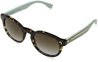 Fendi Colour Block Keyhole Round Sunglasses in Spotted Havana Green FF 0085/S HK4