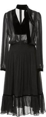 Frame Velvet-Trimmed Silk-Chiffon Midi dress
