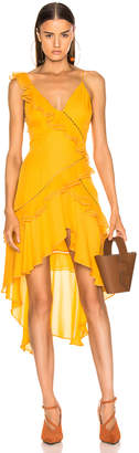 Jonathan Simkhai for FWRD Hi Low Ruffle Dress in Amber | FWRD