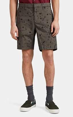 John Varvatos Men's Ink Drop-Stained Cotton Flat-Front Shorts - Black