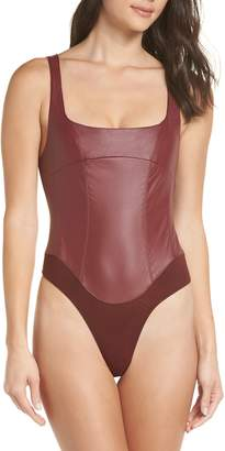 Free People Urban Outfitters She's A Vegan Faux Leather Bodysuit
