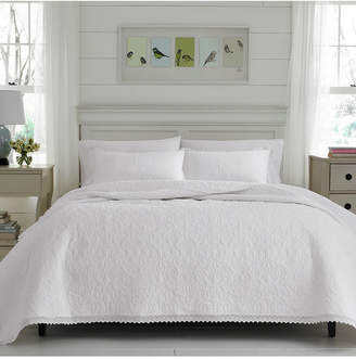 Laura Ashley Full/Queen Heirloom Crochet White Quilt Set Bedding
