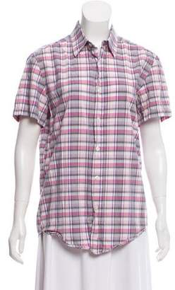 HUGO BOSS Boss by Plaid Short Sleeve Top