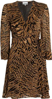 Ganni Tiger Print Wrap Mini Dress