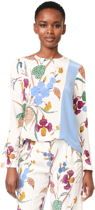 Diane von Furstenberg Long Sleeve Side Slit Blouse $298 thestylecure.com