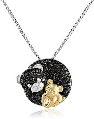 Sterling Silver and 14k Yellow Gold Mom and Baby Teddy Bear Diamond Pendant Necklace