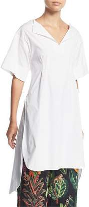 Oscar de la Renta Half-Sleeve Split-Neck Gathered-Back Poplin Tunic Blouse