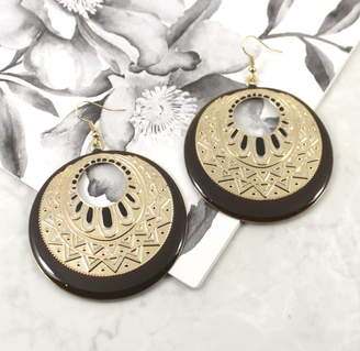 Lucy Loves Neko Brown And Gold Boho Statement Earrings