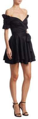 Jonathan Simkhai Rouched Taffeta Mini Wrap Dress