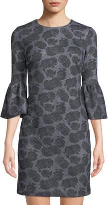 Iconic American Designer Floral-Print Bell-Sleeve Shift Dress
