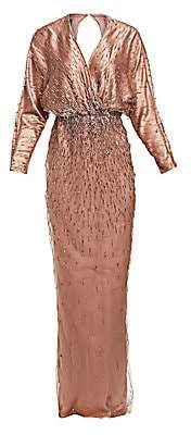 Monique Lhuillier Women's Long-Sleeve Beaded Gown