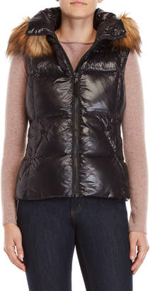 S13 Faux Fur Trim Hooded Down Vest