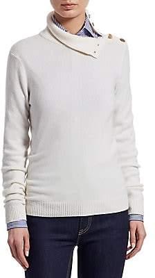 Ralph Lauren Women's Iconic Style Turtleneck Button-Shoulder Cashmere Sweater