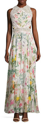 Tadashi Shoji Floral Printed Open Back Gown $719 thestylecure.com