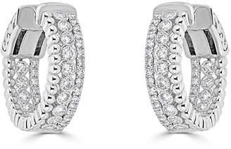 Neiman Marcus Diamonds 14k White Gold Milgrain Diamond Hoop Earrings