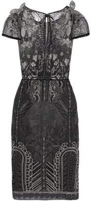 Marchesa Appliquéd Sequin-Embellished Embroidered Tulle Dress