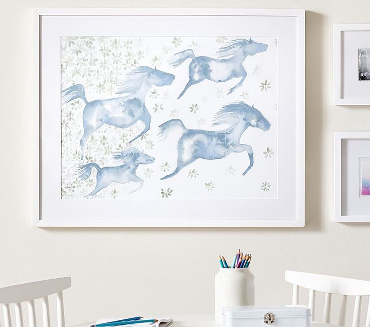 Framed Wild Horses Watercolor