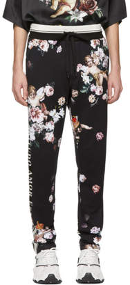 Dolce & Gabbana Black Floral Angels Lounge Pants